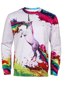 3D Unicorn Splatter Paint Print Sweatshirt