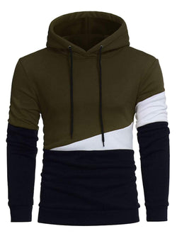 Color Block Panel Drawstring Pullover Hoodie