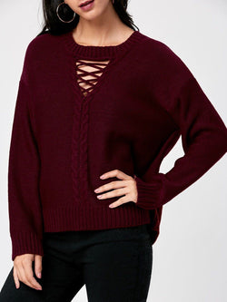 Cable Knit Keyhole Neck Sweater