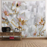 3D Flowers Print Tapestry Wall Hanging Art
