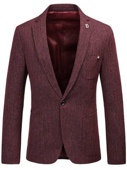 Space Dyed Lapel Collar One Button Blazer