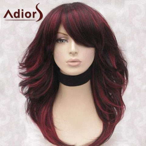 Adiors Long Inclined Bang Highlight Fluffy Straight Synthetic Wig