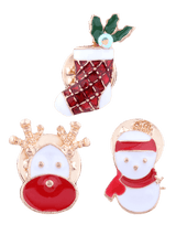 3PCS Christmas Elk Snowman Stocking Brooches