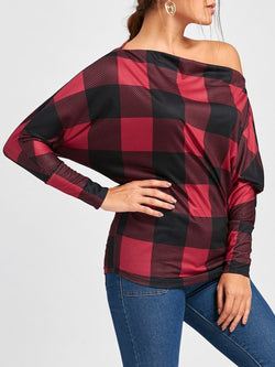 Batwing Sleeve Plaid Skew Collar Top