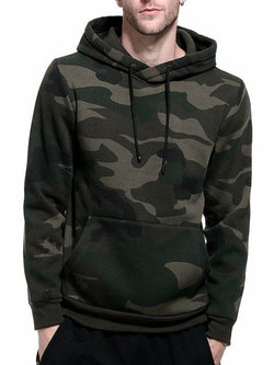 Fleece Camouflage Pocket Hoodie