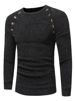 Raglan Sleeve Buttons Embellished Sweater