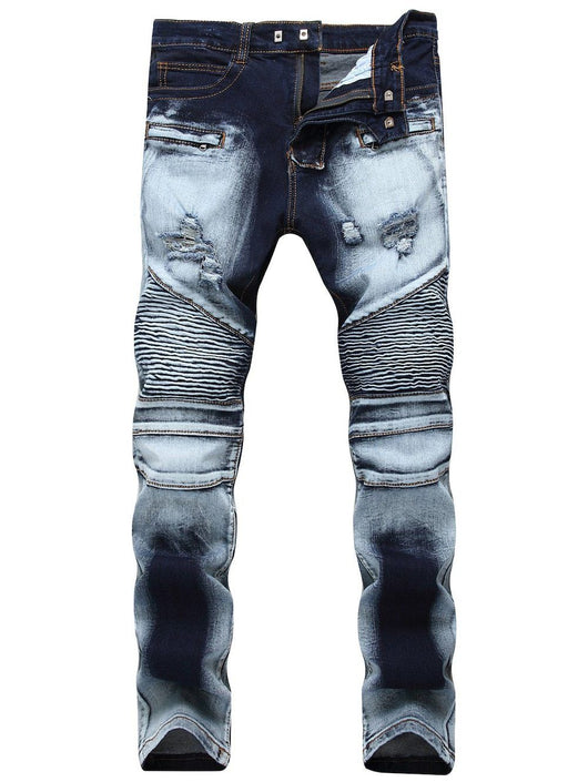 Acid Wash Distressed Biker Jeans