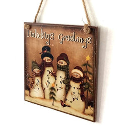 Christmas Snowmen Pattern Wooden Hanging Sign