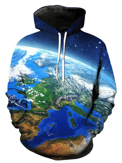 3D Galaxy Earth Print Pullover Hoodie