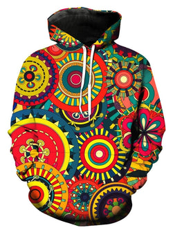 Colorful Wheel Gear 3D Print Pullover Hoodie