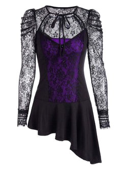 Asymmetrical Lace Long Sleeve Peplum Blouse