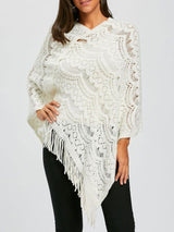 Asymmetric Fringed Chunky Cape Sweater