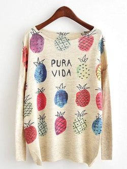 Dolman Sleeve Pineapple Print Knitwear