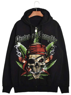 3D Pirate Skull Print Zip Up Hoodie
