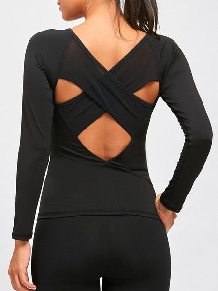 Back Cutout Criss Cross Tee