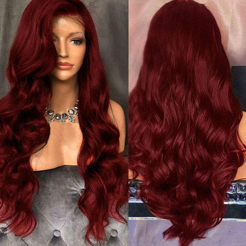 Free Part Long Fluffy Body Wave Lace Front Synthetic Wig