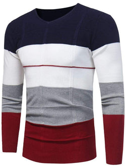 V Neck Color Block Pullover Jumper