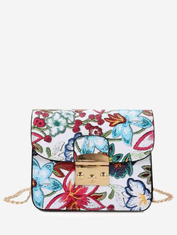 Chain Floral Crossbody Bag