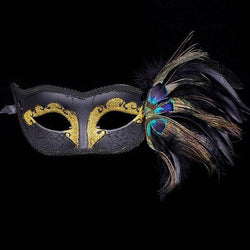 Fake Pearl Embellished Party Feather Masquerade Mask