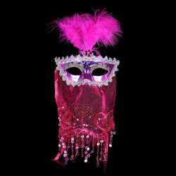 Indian Princess Belly Dance Tulle Feather Party Mask