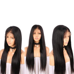 Long Middle Part Straight Real Human Hair Lace Front Wig