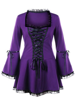 Halloween Plus Size Lace Up Bell Sleeve Top