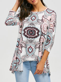 Asymmetric Print Tunic Top