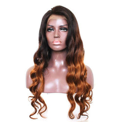 Indian Virgin Long Side Part Loose Wave Colormix Lace Front Human Hair Wig