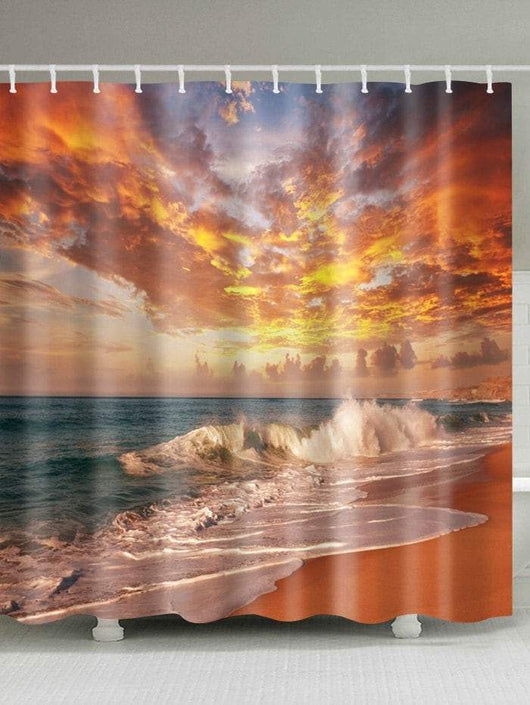 Beach Sunset Scenery Polyester Waterproof Shower Curtain