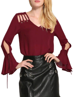 Bell Sleeve Cut Out Chiffon Blouse