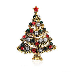 Christmas Rhinestoned Pentagram Tree Brooch