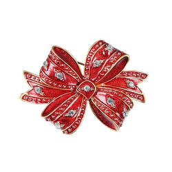 Christmas Rhinestone Bows Tiny Brooch