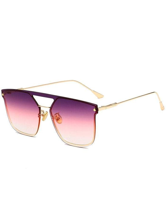 Anti UV Crossbar Decorated Metal Full Frame Sunglasses | HOTTOPTRENDS