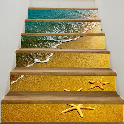 3D Beach Waves Starfish Patterned Stair Stickers