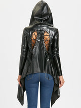 Back Lace Up PU Leather Asymmetric Jacket