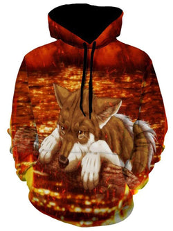 Casual Fox 3D Print Pullover Hoodie