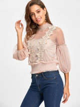 Applique Mesh Top with Camisole