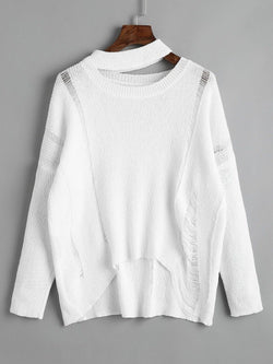 Destroyed Cutout High Low Pullover Sweater