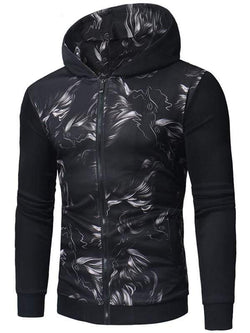 Abstract Print Zipper Up Hoodie