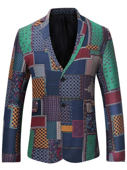 Single Breasted Lapel Patchwork Linen Blazer