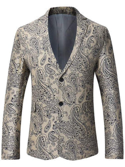 Single Breasted Lapel Paisley Print Linen Blazer