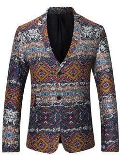 Single Breasted Lapel Tribal Print Linen Blazer