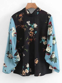 Back Tied Floral Cinched Sleeve Blouse