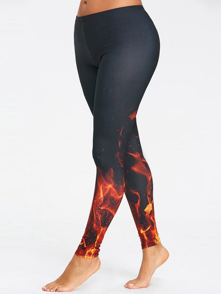Fire 3D Print Workout Leggings