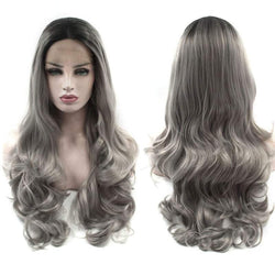 Long Ombre Center Parting Layered Wavy Lace Front Synthetic Wig