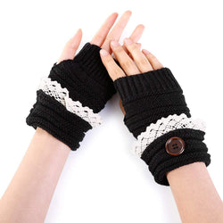 Lace Edge Knitted Exposed Finger Gloves