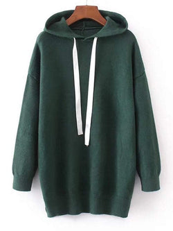 Hooded Contrast Drawstring Sweater