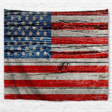American Flag Wood Print Tapestry Wall Hanging Art