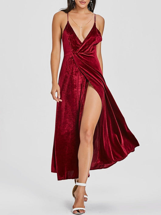 Backless High Slit Velvet Maxi Dress