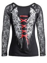 Angel Wings Printed Lace Raglan Sleeve T-shirt